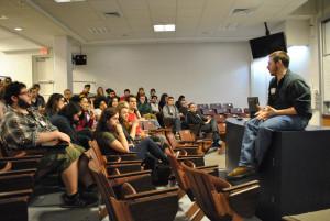 UCONN SSDP chapter leader Tyler Williams leading a Skills Exchange workshop