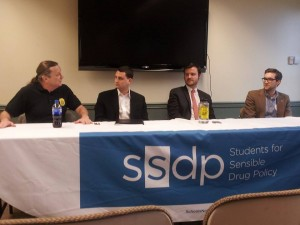 SSDP Northeast Regional Conference panel on marijuana legalization in the northeast hosted by Peter Christ (retired police captain and founder of Law Enforcement Against Prohibition), Evan Nison (Norml New Jersey), Morgan Fox (Marijuana Policy Project), and Zachary Hoover (Chief of Staff for PA State Sen. Daylin Leach). Photo Credit: Temple SSDP!
