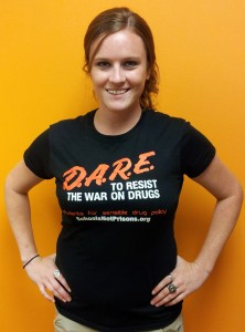 Associate Director, Stacia Cosner wearing one of our new DARE parody tshirts