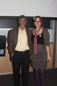 Samantha and Dr. Netravali, the professor of fiber science at Cornell, following his presentation on hemp biocomposites.