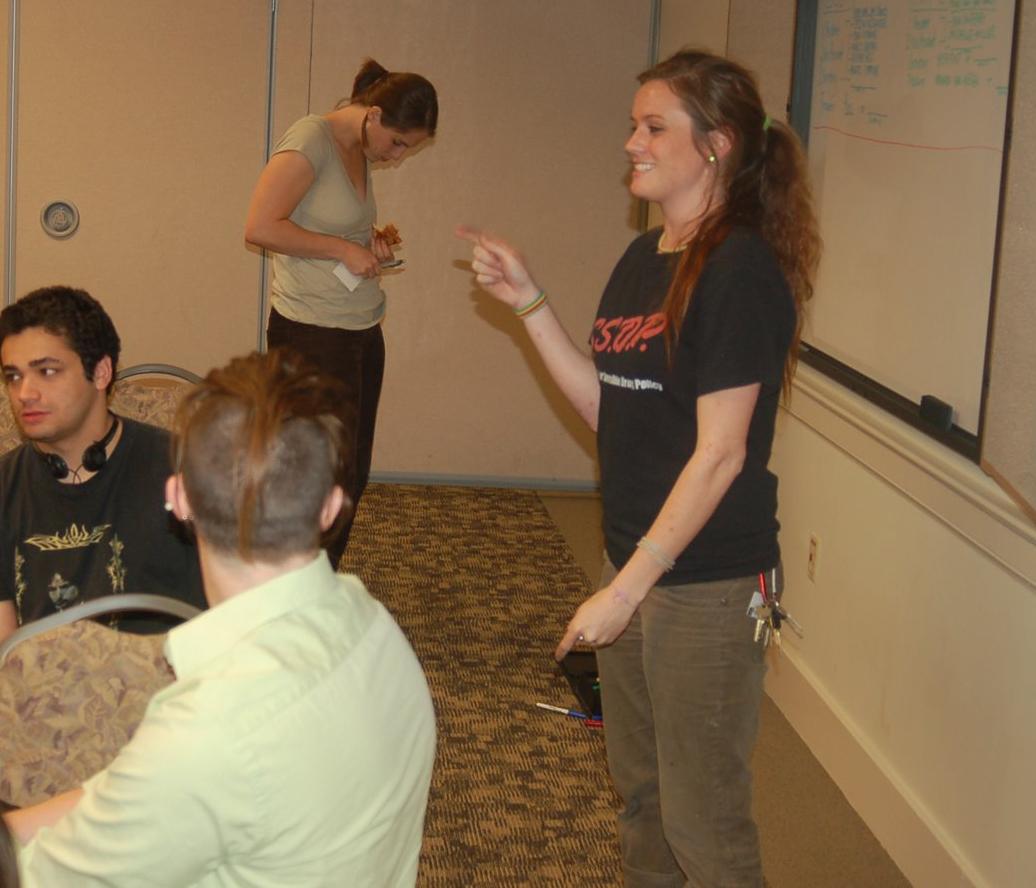 Stacia Cosner leading UMD SSDP chapter meeting 2007