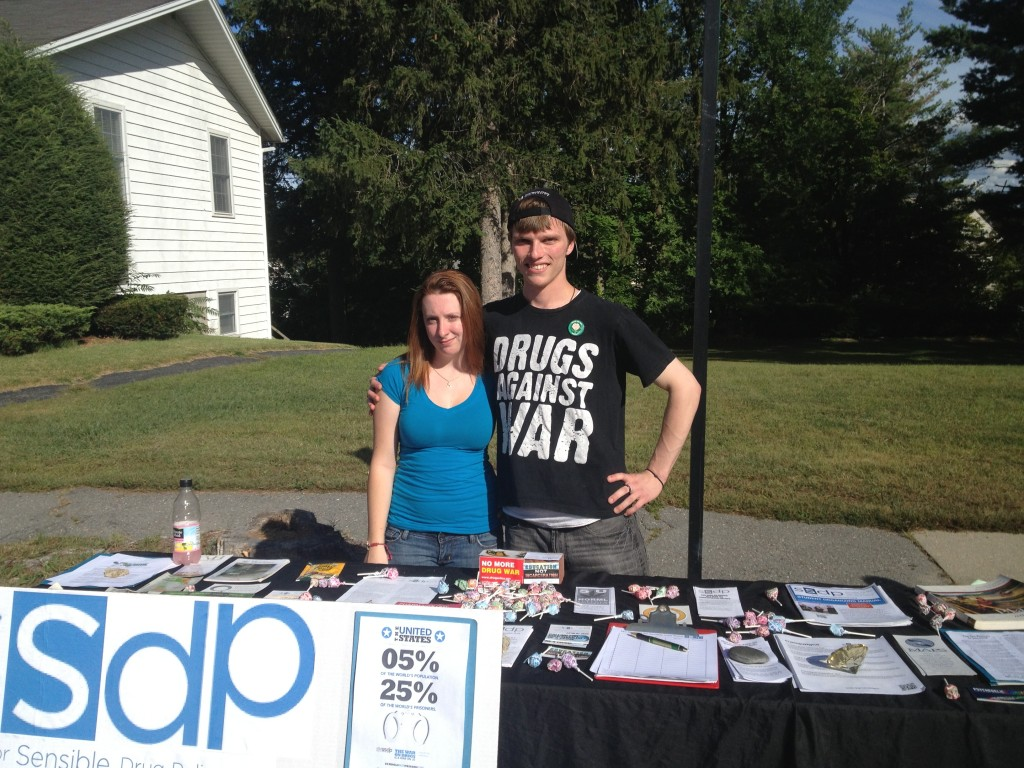 Fitchburg State University SSDP tabling on campus