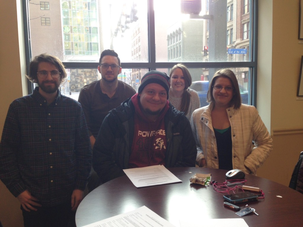 Point Park University SSDP chapter members. Front (left to right) Trevor Howarth Kevin Gallagher Mariah O'Donnell  Back (left to right) Justin Karter Chloe Detrick