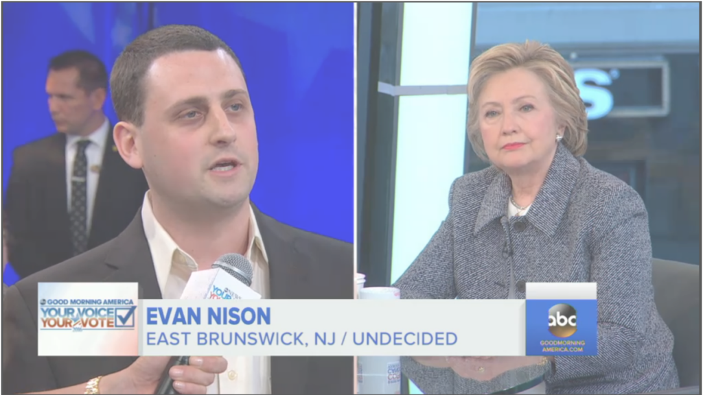 WATCH: SSDP Board Member Evan Nison asks Hillary Clinton on ABC News whether she would vote for marijuana legalization if it were on the ballot in her state.
