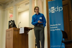 SSDP at NU founder and alumnus, James Kowalsky, moderating a panel on healthcare and harm reduction. Photo by Devon Tackels