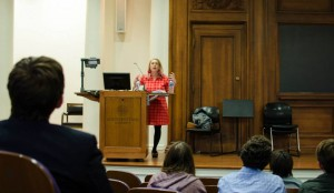 Keynote speaker, Kathie Kane-Willis, from the Illinois Consortium on Drug Policy at Roosevelt University discusses the importance of human rights in ending the drug war. Photo by Devon Tackels