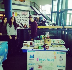 SUNY Buffalo SSDP members host a bake sale on campus to raise awareness