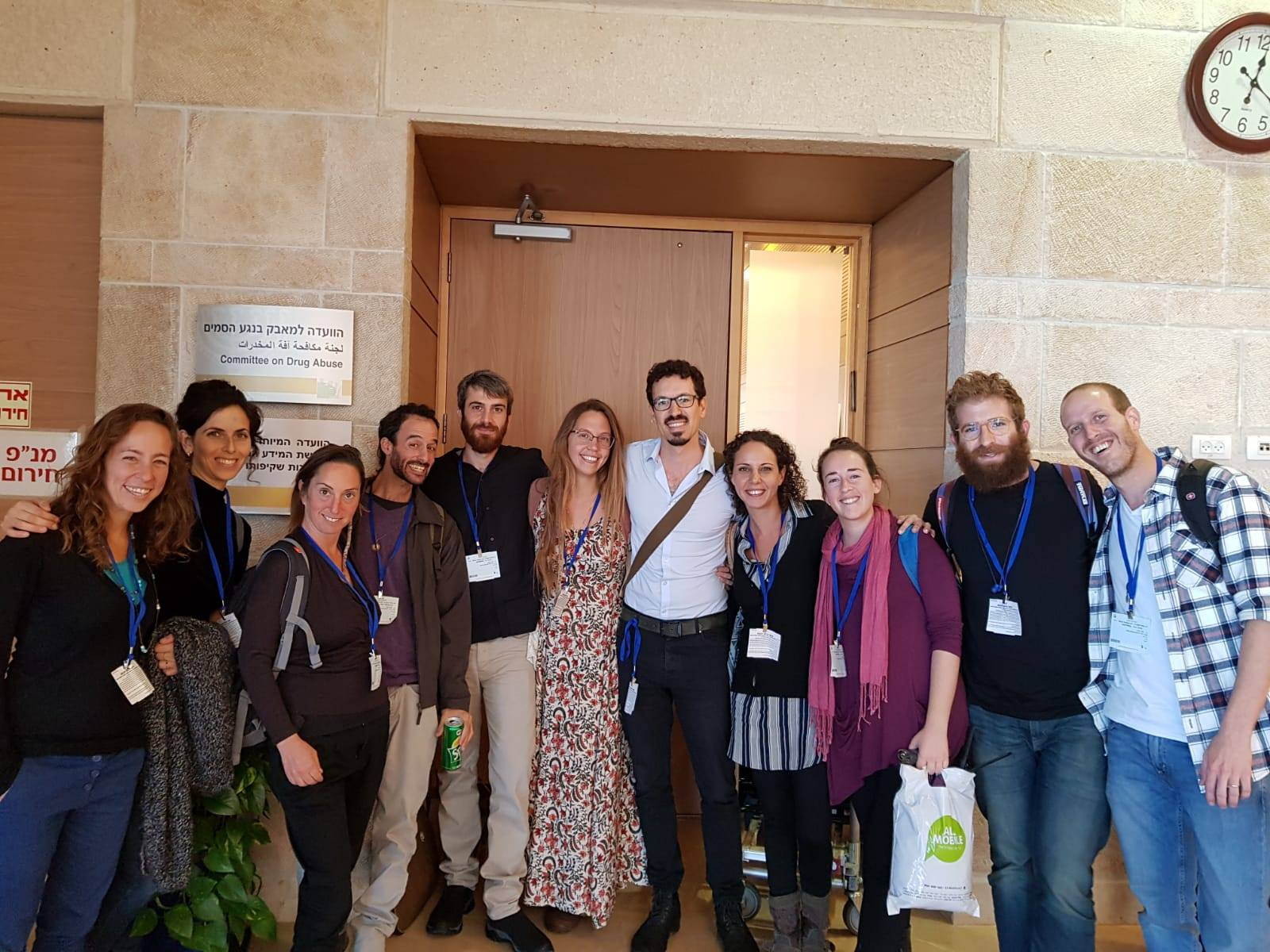 Members of SSDP Israel at the Knesset to talk about nightlife harm reduction and safe use.