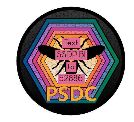 """Text SSDP BI to 52886"" features in the foreground. In the background, the PSDC logo is in the background (an image of a bee encased in several, different colored hexagons with the letters ""PSDC"" at the bottom)."