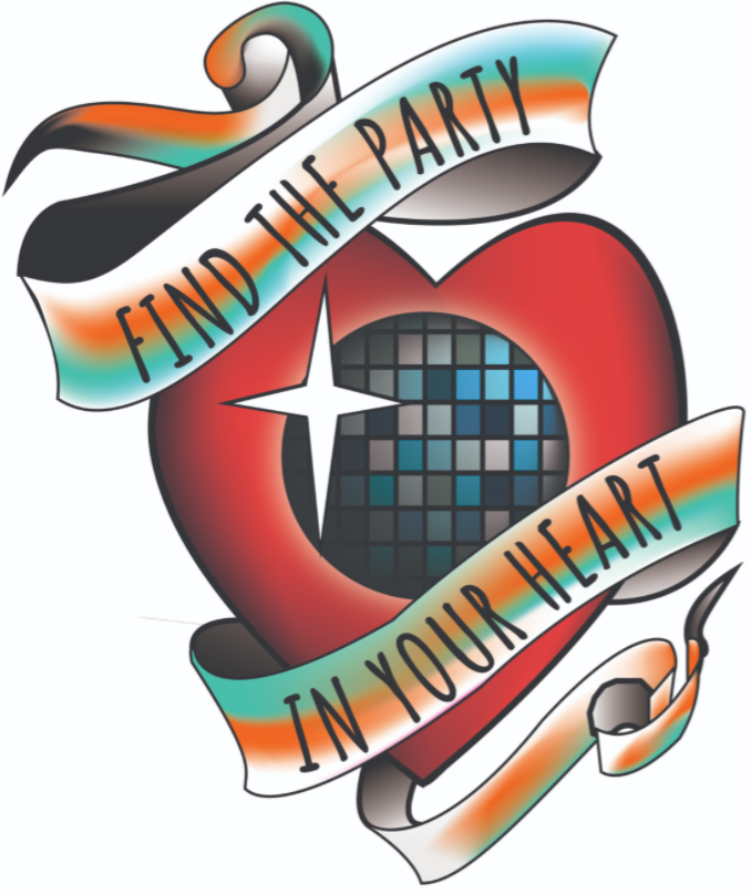 "Tattoo-style heart with disco ball and banner reading ""find the party in your heart"""
