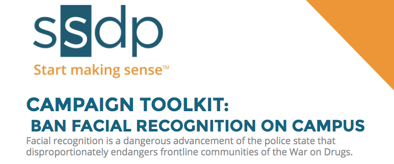 "SSDP ""Start making sense"" logo with text ""CAMPAIGN TOOLKIT: BAN FACIAL RECOGNITION ON CAMPUS"""