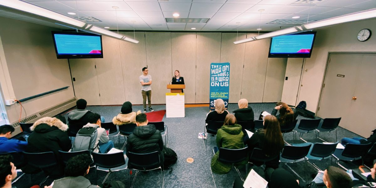 Sarah Noon '18 and Sergio Brilanti-Martinez '18 speak about sensible drug policy and the need for automatic expungement at the 2020 Student Engagement Conference